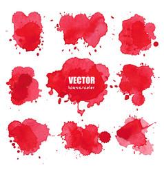 Set of splash red watercolor vector