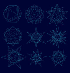 set with a wireframe of geometric shapes of vector image