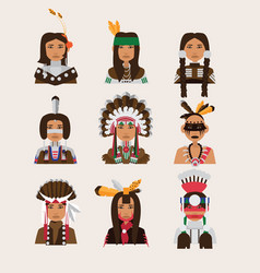 Set with american indian man portraits various vector