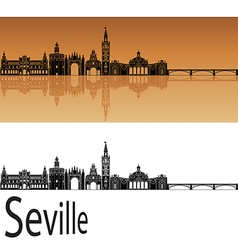 Seville skyline in orange vector