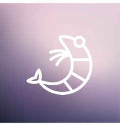 Shrimp thin line icon vector