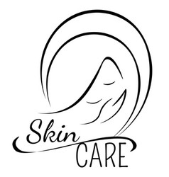 Skin care icon witn smiling woman face and hand vector