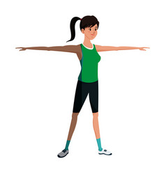 sport girl training stretch open arms vector image