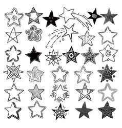 stars space symbols planets elements hand drawn vector image