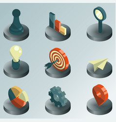 Startup color isometric icons vector