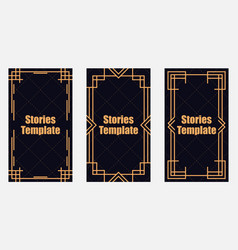 Stories template art deco style vintage linear vector