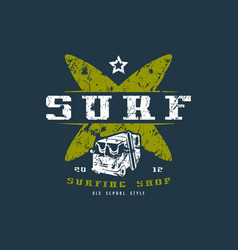 surfing shop emblem graphic design for t-shirt vector image