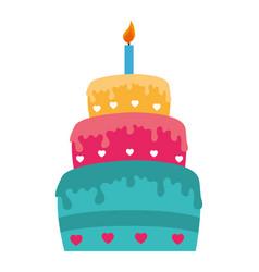 sweet cake celebration icon vector image
