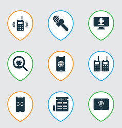 Telecommunication icons set with 3g smartphone vector