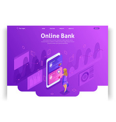 template website isometric landing page concept vector image