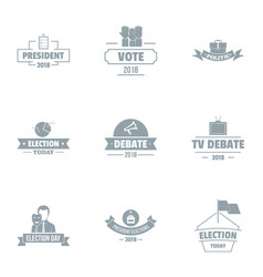 Vote logo set simple style vector
