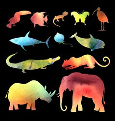 Watercolor different animals vector