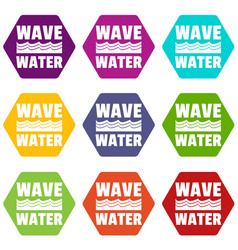 wave water icons set 9 vector image