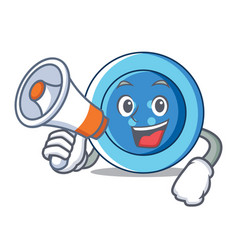 With megaphone clothing button character cartoon vector
