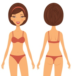 Woman front and back vector