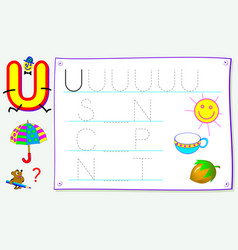 Worksheet for kids with letter u for study vector