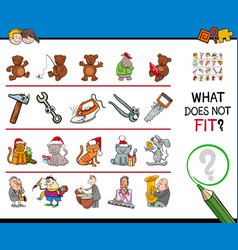 Wrong picture in a row cartoon game vector