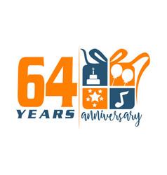 64 years gift box ribbon annivers vector