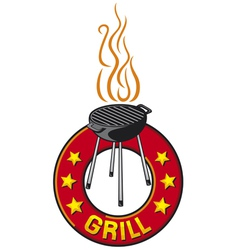 barbecue grill label - barbecue grill symbol vector image vector image