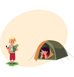 boy studying map with compass and girl in camping vector image vector image