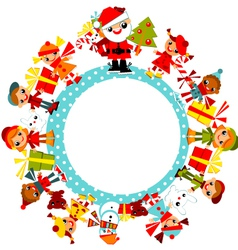 christmas childs on planet vector image vector image