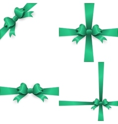 Green realistic double gift bow eps 10 vector