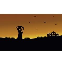Halloween warlock and pumpkins silhouette vector image vector image