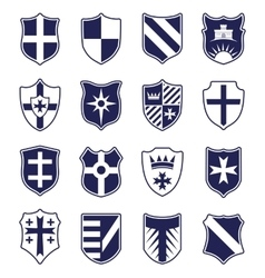 Set of heraldic shields on white background vector image vector image