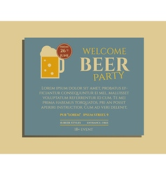 Beer party poster invitation template with glass vector image vector image