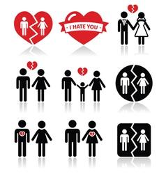 Couple breakup divorce icons set vector image vector image