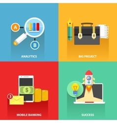 Digital marketing flat business colorful icons set vector image vector image