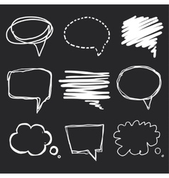 Hand drawn speech bubbles chalk on blackboard vector image vector image