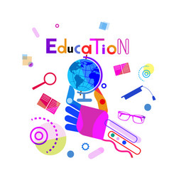 hand holding globe education concept elearning vector image