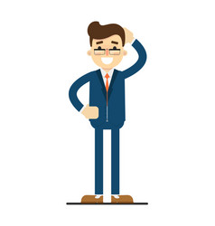 Happy businessman with hand behind head gesture vector