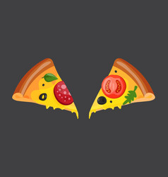 hot fresh pizza slice icon vector image vector image