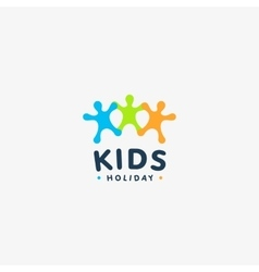 Isolated colorful kids silhouette logo vector image