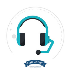 call center headset communication client vector image