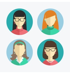 flat design Women and girls icons vector image vector image