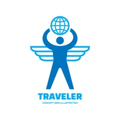 Traveler - human with wings and globe vector image vector image