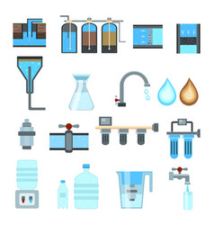 water filtration flat icons vector image vector image