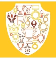 Awards and trophy sport or business line icons vector image