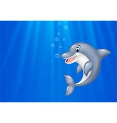 Cartoon dolphin swimming in the ocean vector image vector image