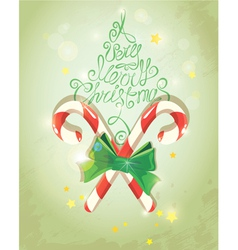 Holiday Card in vintage style with candies Handwri vector image vector image