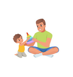 loving father and his son playing with humming top vector image vector image