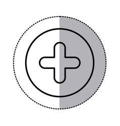 monochrome contour circular sticker with plus icon vector image