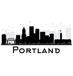 portland city skyline black and white silhouette vector image vector image