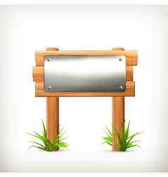 Signboard metal and wood vector image vector image