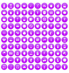 100 vegetarian cafe icons set purple vector