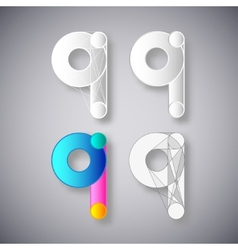 Abstract Combination of Letter Q vector