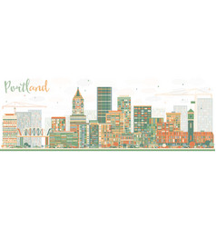 Abstract portland skyline with color buildings vector